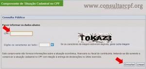Consultar situação Cadastral de CPF - Site Receita Federal