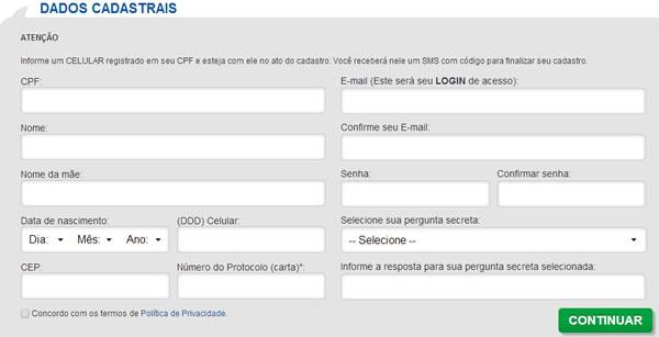 Cadastro / Fonte: Boa Vista SCPC