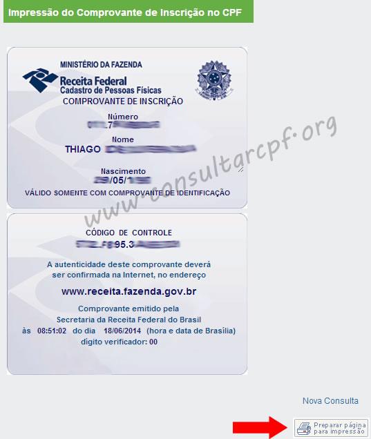 Imprimir CPF - Resultado CPF Online